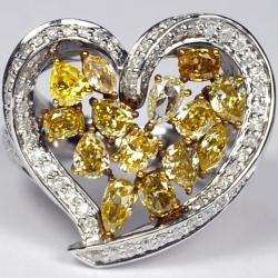 14K White Gold 3.75 ct Fancy Yellow Diamond Womens Heart Ring