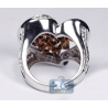 14K White Gold 3.75 ct Natural Fancy Diamond Womens Heart Ring