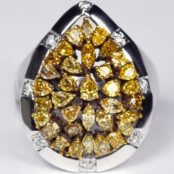 Womens Fancy Yellow Diamond Cluster Ring 14K White Gold 2.69 ct