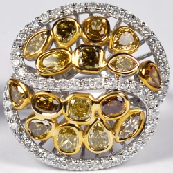 14K White Gold 3.76 ct Fancy Yellow Diamond Dome Ring