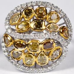 14K White Gold 3.76 ct Fancy Yellow Diamond Dome Ring