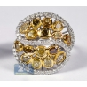 14K White Gold 3.76 ct Fancy Yellow Diamond Womens Dome Ring