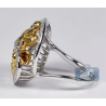 14K White Gold 3.76 ct Fancy Yellow Diamond Womens Dome Ring