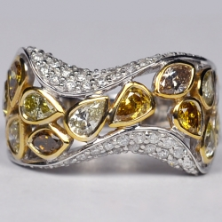 Womens Fancy Yellow Diamond Band Ring 14K White Gold 2.86 Carat