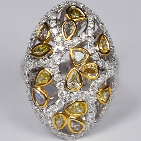 14K White Gold 3.33 ct Fancy Yellow Diamond Womens Dome Ring