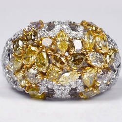 14K White Gold 4.91 ct Fancy Yellow Diamond Womens Dome Ring