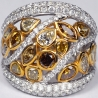 14K White Gold 5.01 ct Fancy Yellow Diamond Womens Wide Ring
