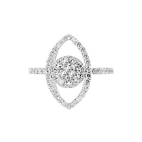 14K White Gold 1.05 ct Diamond Marquise Crown Engagement Ring