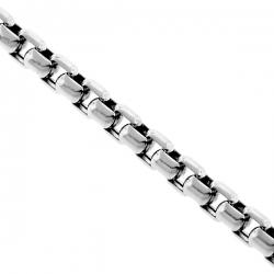 Sterling Silver Venetian Puff Box Mens Chain 5 mm