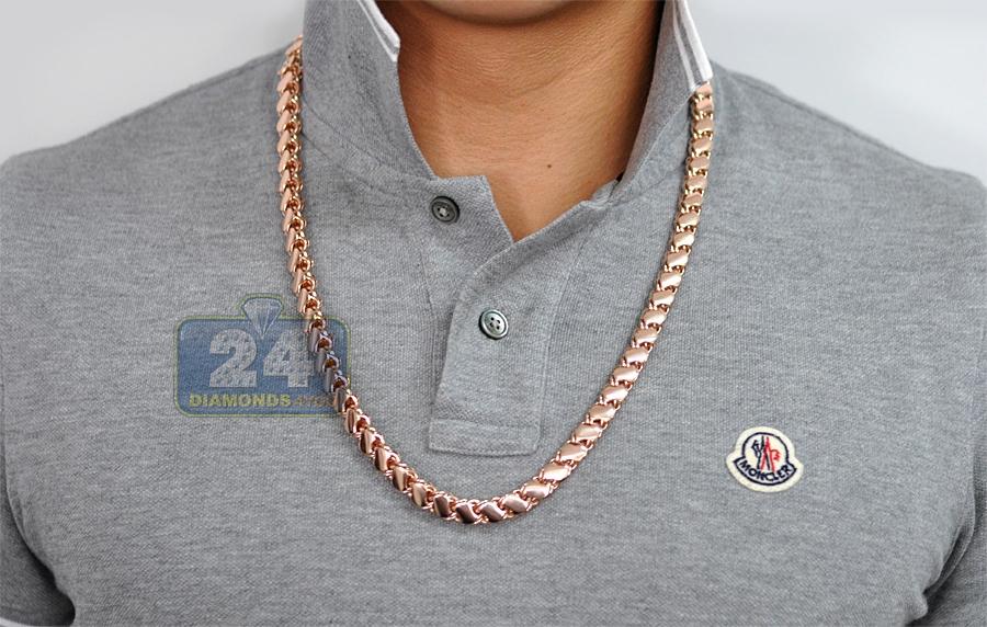 Solid 14k Rose Gold Leaf Bismark Mens Chain 9 Mm 26 5 Inches