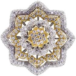 14K Two Tone Gold 5.24 ct Diamond Flower Womens Ring