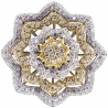 Womens Diamond Flower Ring 14K Two Tone Gold 5.24 ct