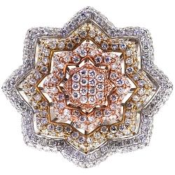 14K Three Tone Gold 5.16 ct Diamond Flower Womens Ring