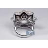 Womens Diamond Flower Ring 14K Three Tone Gold 5.16 ct