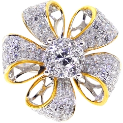 14K Two Tone Gold 1.80 ct Diamond Flower Womens Ring