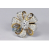 Womens Diamond Flower Ring 14K Two Tone Gold 1.80 ct