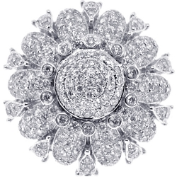 14K White Gold 3.80 ct Diamond Cluster Womens Flower Ring