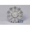 Womens Diamond Cluster Flower Ring 14K White Gold 3.80 ct