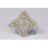 Womens Diamond Layered Flower Ring 14K Two Tone Gold 1.01 ct