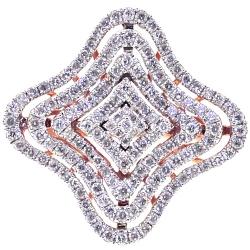 14K Rose Gold 1.03 ct Diamond Womens Flower Ring