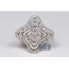 Womens Diamond Layered Flower Ring 14K Rose Gold 1.03 ct