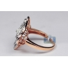Womens Diamond Layered Flower Ring 14K Rose Gold 1.03 ct