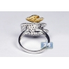 Womens Diamond Flower Cocktail Ring 14K Two Tone Gold 1.97 ct