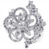 Womens Diamond Cluster Flower Ring 14K White Gold 1.19 ct
