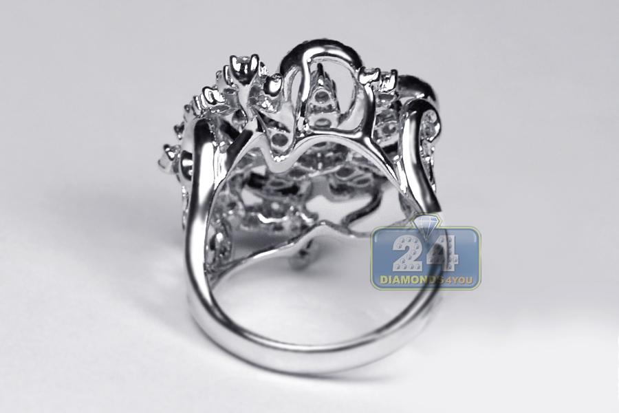 Womens Diamond Cluster Flower Ring 14k White Gold 1 19 Ct