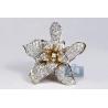 Womens Diamond Lily Flower Ring 14K Yellow Gold 1.81 Carat