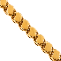Handmade 14K Yellow Gold Leaf Bismark Link Mens Chain 9 mm