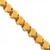 Handmade 14K Yellow Gold Leaf Bismark Link Mens Chain 9 mm