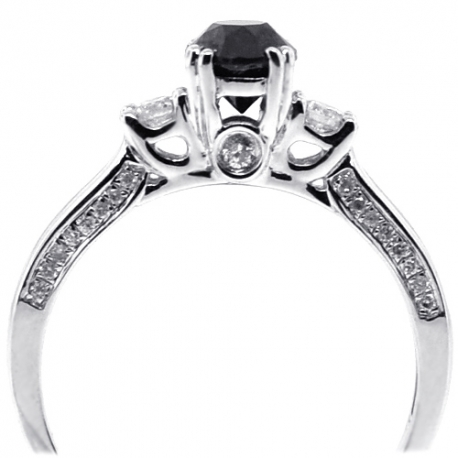 Womens Black Diamond 3-Stone Ring 14K White Gold 1.07 ct