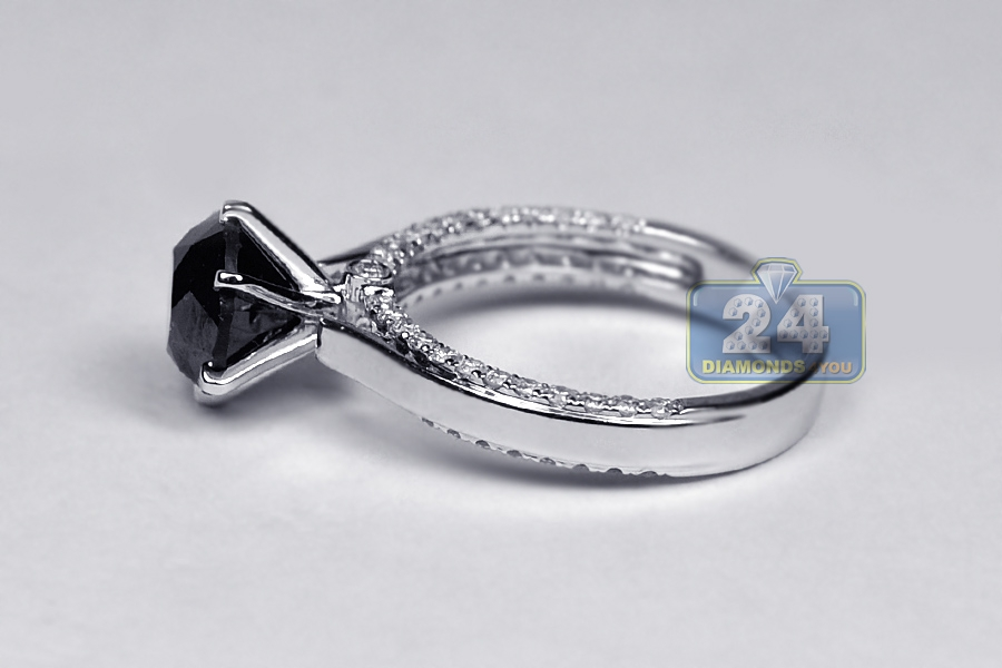 Womens Black Diamond Solitaire Engagement Ring 14k Gold 3 15 Ct
