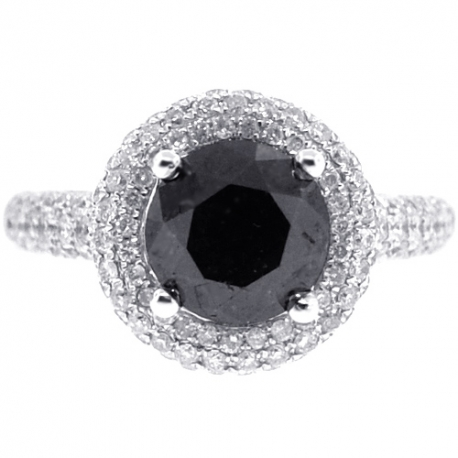 Womens Black Diamond Halo Engagement Ring 14K White Gold 3.66 ct