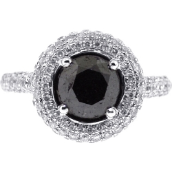 14K White Gold 2.73 ct Black Diamond Womens Halo Engagement Ring
