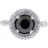 14K White Gold 2.73 ct Black Diamond Womens Halo Engagement Ring