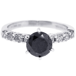 14K Gold 2.36 ct Black Diamond Womens Solitaire Engagement Ring