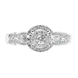 14K White Gold 0.77 ct Diamond Womens Illusion Engagement Ring