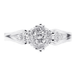 14K White Gold 0.48 ct Diamond Womens Cluster Engagement Ring