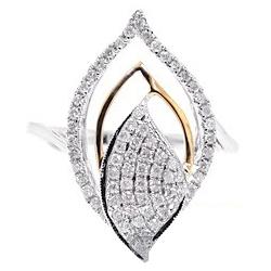 14K Two Tone Gold 0.57 ct Diamond Womens Leaf Ring