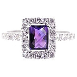 14K White Gold 1.52 ct Purple Amethyst Diamond Womens Ring