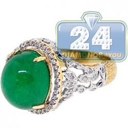 GIA 18K Yellow Gold 10.68 ct Cabochon Emerald Diamond Womens Ring