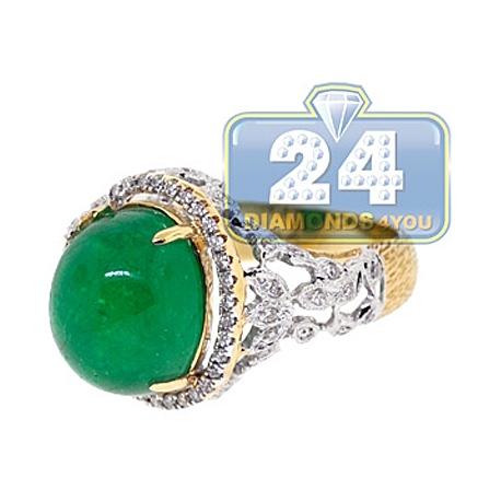 GIA 18K Yellow Gold 10.68 ct Cabochon Emerald Diamond Womens Ring
