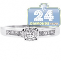 14K White Gold 0.41 ct Round Princess Cut Diamond Engagement Ring