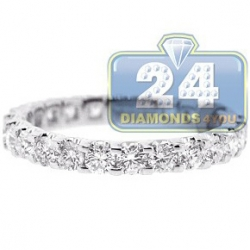 18K White Gold 1.91 ct Round Cut Diamond Womens Eternity Ring
