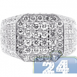 14K White Gold 3.98 ct Diamond Mens High Octagon Ring