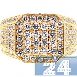 14K Yellow Gold 3.96 ct Diamond Mens High Octagon Ring