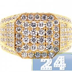 14K Yellow Gold 3.96 ct Diamond Mens High Octagon Ring