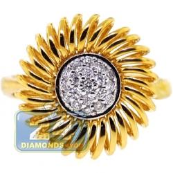 18K Yellow Gold 0.16 ct Diamond Womens Sunflower Ring